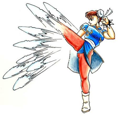Street Fighter II Chun-Li-lightning kick-artwork