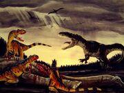 A pack of an Allosaurus fights Torvosaurus