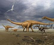 Allosaurus attacks a herd of Diplodocus