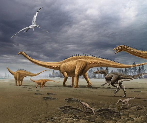 File:Allosaurus attacks a herd of Diplodocus.jpg