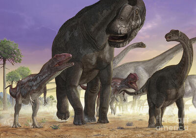 A herd of Argentinosaurus attacked by Mapusaurus