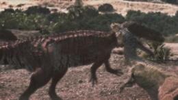 Broken Jaw holding onto the Torvosaurus's neck.