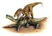 Megalosaurus battling Iguanodon