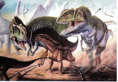 Giganotosaurus pursuing Argentinosaurus