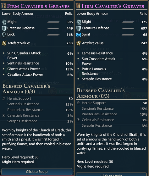 Example of Same item, different stats