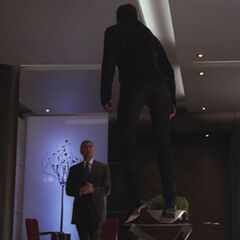 Arthur passively suspends Sylar in the air using telekinesis.<br />(<i><a href=