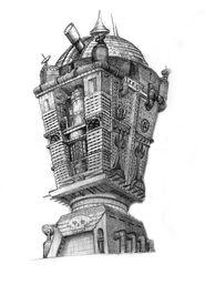 Здания гильдии магов и обсерватории-зарисовка