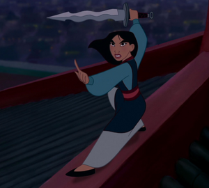 Mulan standing up against Shan Yu