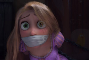 Rapunzel bound and gagged by Mother Gothel