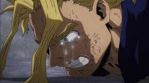 Toshinori Yagi mourns over his wife