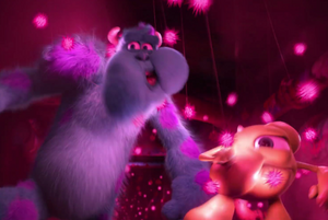 Mike and Sulley struggling to get past stinging glow urchins