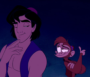 Aladdin and Abu smiling slyly
