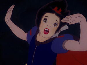 Snow white escaping in forest