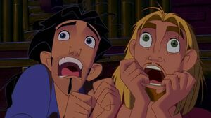 Miguel and Tulio screaming like little girls