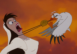 Scuttle yanking off Ursula's necklace