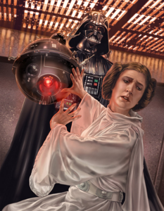Princess Leia at the mercy of Darth Vader