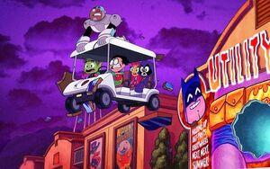 Teen Titans fleeing from Brainwashed superheroes