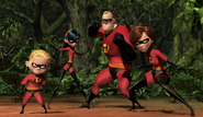 The Incredibles facing Syndrome's henchmen