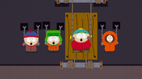 Staqn, Kyle, Cartman and Kenny held captive by Barbara Steisand