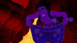 Aladdin Abu and Carpet escaping Cave of Wonders
