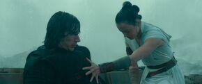 Rey heals Kylo Ren