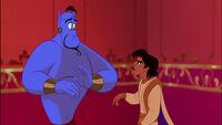 Aladdin arguing with Genie