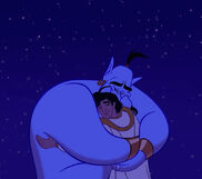 Aladdin thanks Genie for saving him from drowning