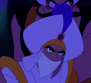 Aladdin yelling through his gag