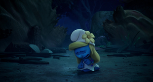 Smurfette starts crying in the lost village