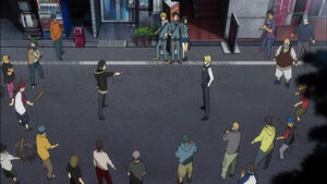 Shizuo facing Izaya