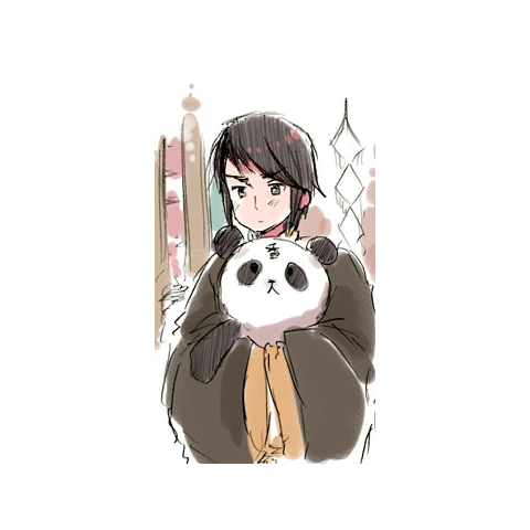 Hong Kong with his panda in Prussia's blog.