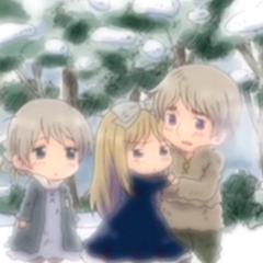 Belarus when she was younger with her borther and sister.