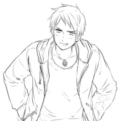 Sketch of Prussia in his Gakuen clothing.