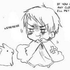 Prussia telling a bunny if he gets any closer he will pet him.