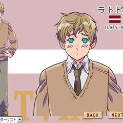An image of Latvia on the anime website, shown taller and wearing casual clothing.