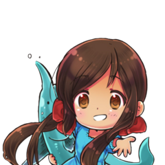 Seychelles in her blue dress, depicted in 'chibi' format.