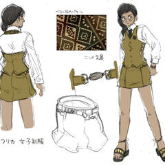 One example of the girls' uniform for the Africa Class.