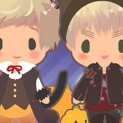 Image showing the desktop mascots (made by Himaruya) of Latvia with Sealand in their cat costumes.