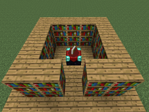 A 30 Bookshelf Setup With Maximum Enchantment Level At 70