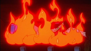 Helga's books in flames