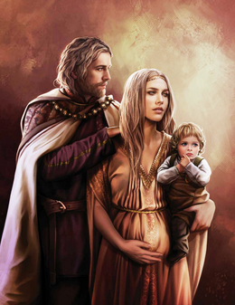 King Jaehaerys I and Good Queen Alysanne with their son, Prince Aemon by Magali Villeneuve©
