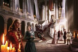 Lady Ellyn Reyne and Lady Jeyne Marbrand in the court of Lord Gerold Lannister by Magali Villeneuve©