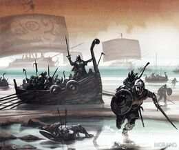 Ironborn raiders going on shore by Tomasz Jedruzek, Fantasy Flight Games©