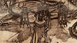 El último rey del Norte (Thorren Stark) arrodillado ante Aegon el conquistador