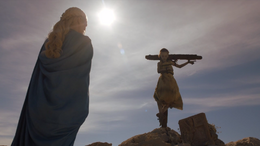 Daenerys y niño hacia Meereen HBO