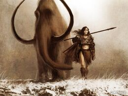 Mamut y Mujer del acero by Tomasz Jedruzek, Fantasy Flight Games©