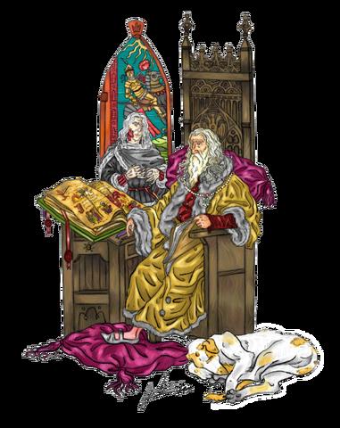 Archivo:Aerys I Targaryen y Cuervo de Sangre by Oznerol-1516©.png