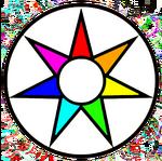 Emblema Fe circular arcoiris