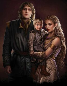 The young Prince Aegon, with his parents, Prince Viserys II and Larra Rogare by Magali Villeneuve©