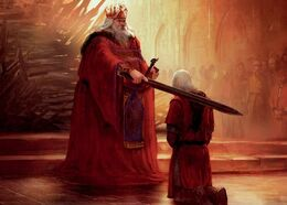 The knighting of Daemon Blackfyre by his father, King Aegon IV by Marc Simonetti©